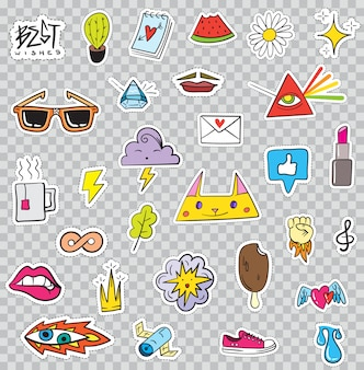Ensemble d'éléments de patchs comme fleur, coeur, couronne, nuage, lèvres, courrier, diamant, yeux. dessiné à la main . collection d'autocollants à la mode mignonne. doodle pop art sketch badges et épingles.
