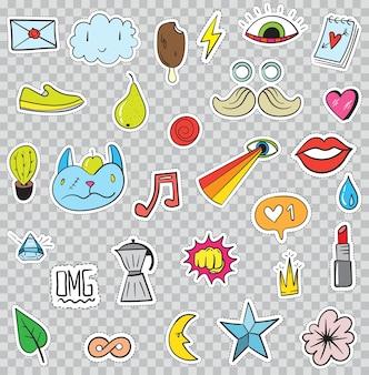 Ensemble d'éléments de patchs comme fleur, coeur, couronne, nuage, lèvres, courrier, diamant, yeux. vecteur dessiné à la main. collection d'autocollants à la mode mignonne. doodle pop art sketch badges et épingles.