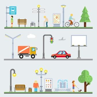 Ensemble d'éléments de paysage urbain