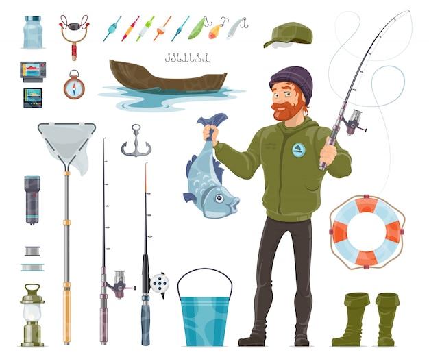 Ensemble d'éléments de pêcheur