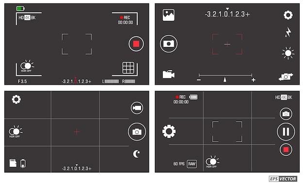Ensemble d'éléments de photographie de téléphone portable isolé vecteur eps