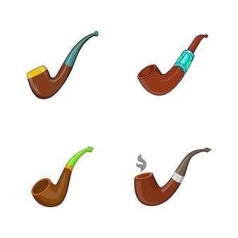 Ensemble d'éléments de pipe à fumer. ensemble de dessin animé de fumer des éléments vectoriels