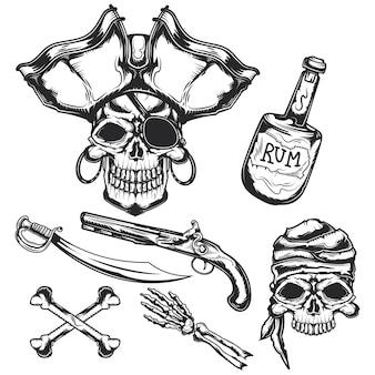Ensemble d'éléments pirat (bouteille, os, épée, pistolet)