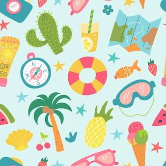 Ensemble d'éléments de plage d'été cactus palmier ananas crème glacée loisirs et tourisme