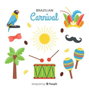 Ensemble d'éléments plats de carnaval brésilien