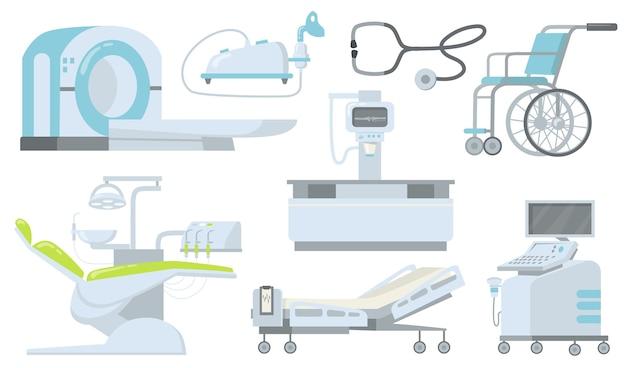 Ensemble d'éléments plats de dispositifs médicaux cliniques et hospitaliers.