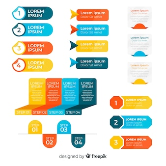 Ensemble d'éléments plats d'infographie