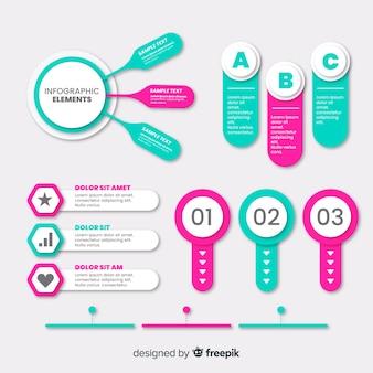 Ensemble d'éléments plats infographiques