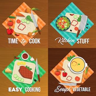 Ensemble d'éléments plats de légumes