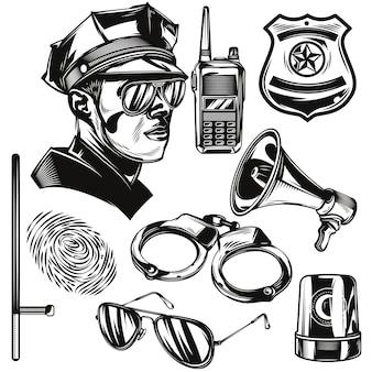 Ensemble d'éléments de police