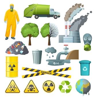 Ensemble d'éléments de pollution environnementale