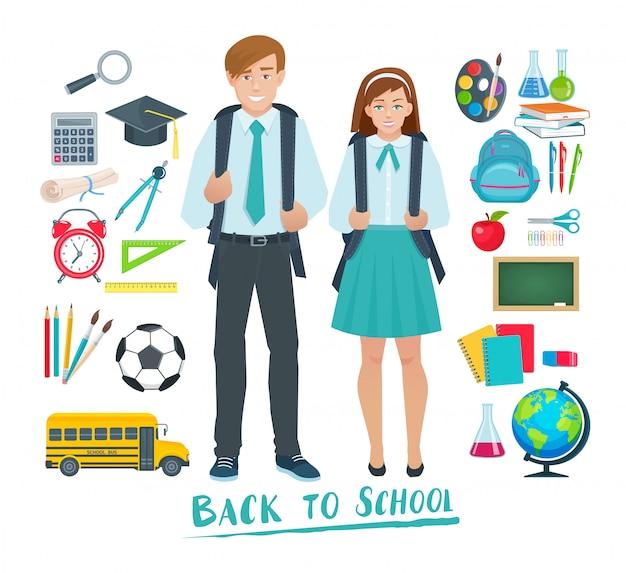 Ensemble d'éléments pour l'école