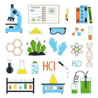 Ensemble d'éléments pour l'étude de la chimie isolé sur fond blancvector illustration dans un style plat