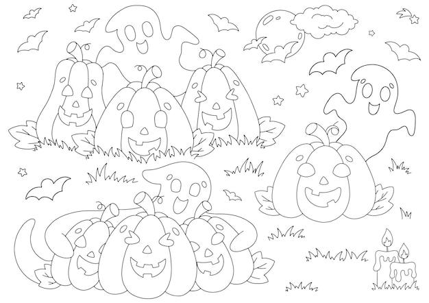 Ensemble d'éléments pour halloween citrouilles fantômes chauves-souris page de livre de coloriage pour les enfants