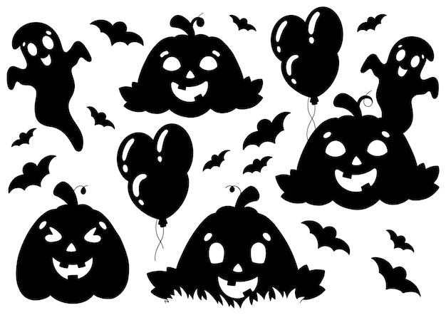 Ensemble d'éléments pour halloween citrouilles fantômes chauves-souris silhouette noire thème halloween