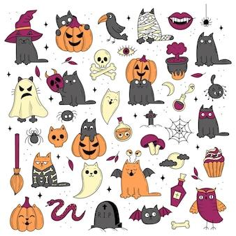 Ensemble d'éléments pour halloween. objets effrayants mystiques. chats, citrouilles, fantômes, potion. illustration de style griffonnage