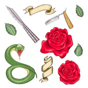 Ensemble d'éléments pour tatouages, imprimés dans le style old school