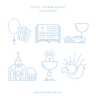 Ensemble d'éléments de première communion en style linéaire