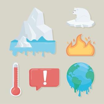 Ensemble d'éléments de réchauffement climatique