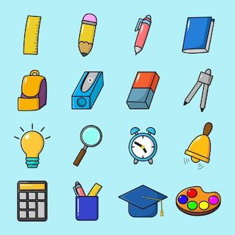 Ensemble d'éléments de retour à l'école avec des illustrations mignonnes