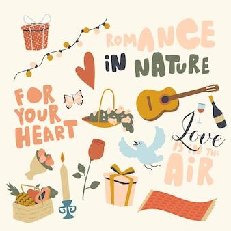 Ensemble d'éléments romance dans le thème de la nature