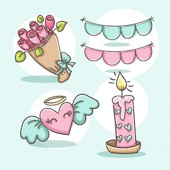 Ensemble d'éléments romantiques. bouquet de fleurs, bougie, ange coeur