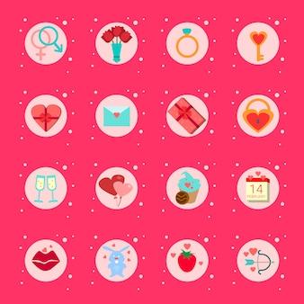 Ensemble d'éléments de la saint-valentin, cadeaux, boîtes de collection d'éléments de vacances romantiques