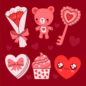 Ensemble d'éléments de la saint-valentin dessinés à la main