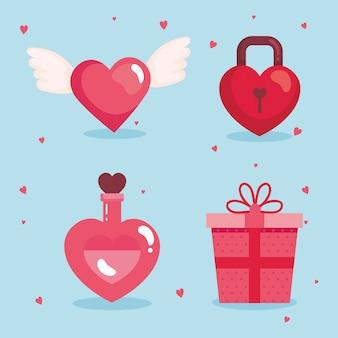 Ensemble d'éléments de la saint-valentin