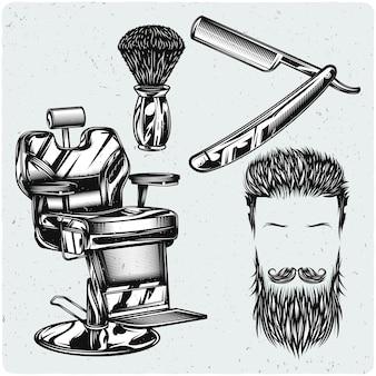 Ensemble d'éléments de salon de coiffure