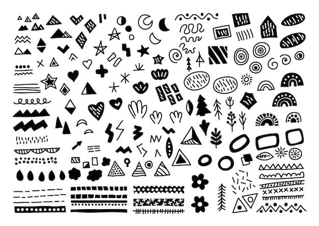 Ensemble d'éléments scandinaves. ensemble noir et blanc dessiné à la main de vecteur avec des feuilles, des flèches, des coeurs, des points, des gouttes.