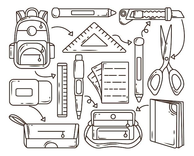 Ensemble d'éléments scolaires dessinés à la main, dessin animé doodle collection coloration