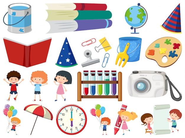 Ensemble d'éléments scolaires thème objets isolés