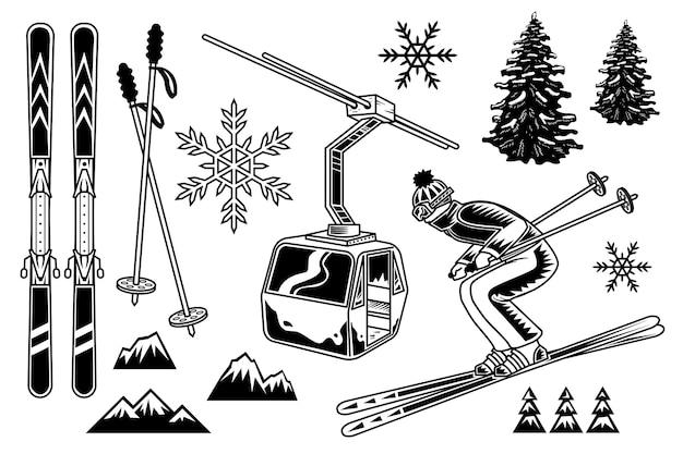 Ski En Dessin Anime Hiver Station De Montagne Vecteur Gratuite