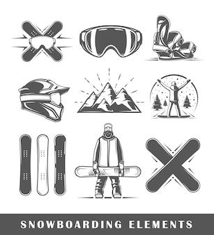 Ensemble d'éléments de snowboard vintage