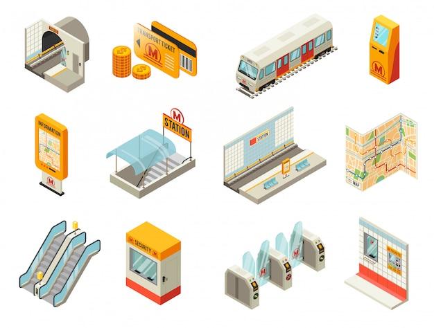 Ensemble d'éléments de station de métro isométrique