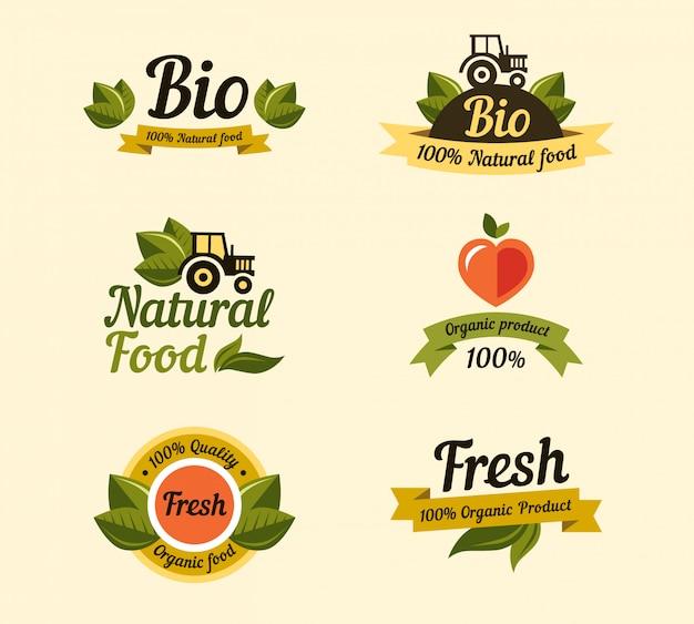 Ensemble d'éléments de style vintage pour étiquettes, badges aliments et boissons biologiques