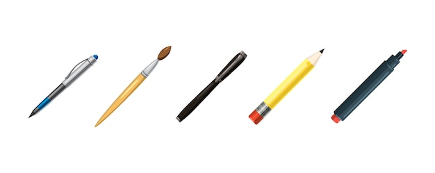 Ensemble d'éléments de stylos. ensemble de stylos