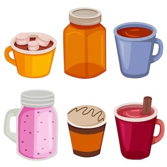 Ensemble d'éléments sucrés de boissons alimentaires