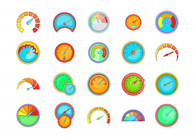 Ensemble d'éléments de tableau de bord. jeu de dessin animé d'éléments vectoriels de tableau de bord