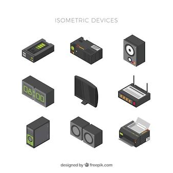 Ensemble d'éléments technologiques avec vue isométrique