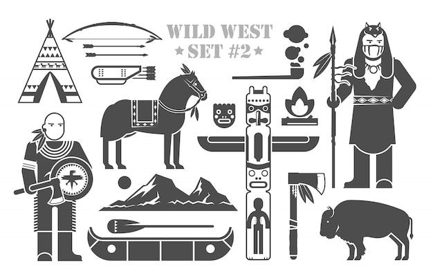Ensemble d'éléments sur le thème du far west. indiens d'amérique du nord. la vie des amérindiens. le développement de l'amérique. deuxième partie.
