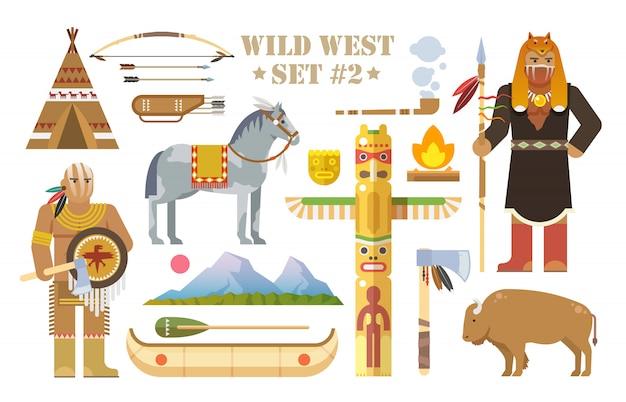 Ensemble d'éléments sur le thème du far west. indiens d'amérique du nord. la vie des amérindiens. le développement de l'amérique. style plat moderne. deuxième partie.