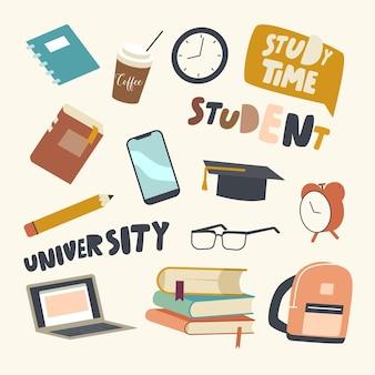 Ensemble d'éléments thème des étudiants universitaires