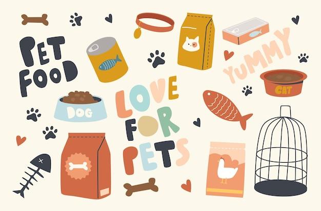 Ensemble d'éléments thème de la nourriture pour animaux de compagnie