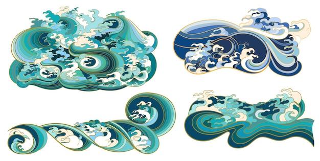 Un ensemble d'éléments, sur le thème des vagues dans un style oriental.