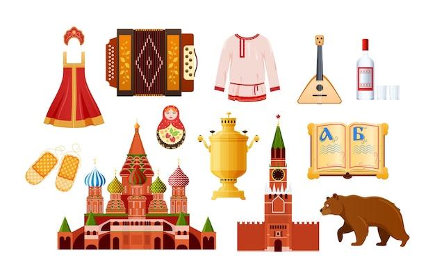 Ensemble d'éléments traditionnels russes. objet vintage national kokoshnik, robe d'été, caftan, balalaïka