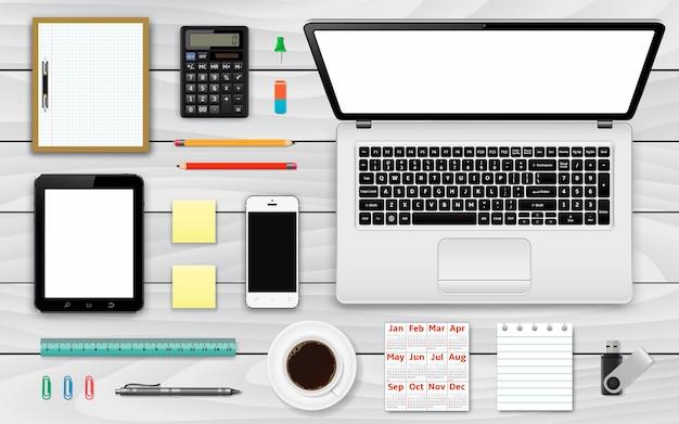 Ensemble d'éléments de travail de bureau et d'entreprise