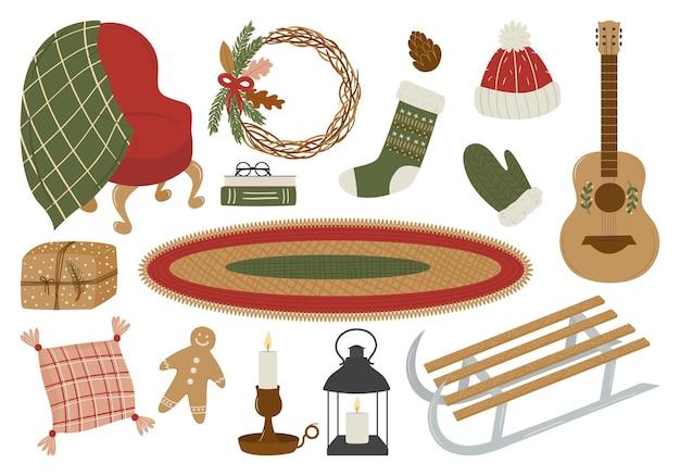 Ensemble d'éléments de vacances d'hiver bonhomme de pain d'épice chaussette de traîneau fauteuil lanterne bougie