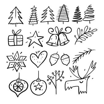 Ensemble d'éléments de vacances d'hiver. style de griffonnage. dessin animé main dessiner à colorier. isolé sur fond blanc.